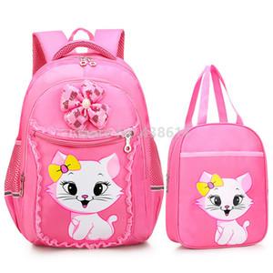 Rosa Marie Cat Cute Kitty Girls mochila mochila escolar con bolsos bolso de mano conjunto para niños bolsas de libros de la escuela primaria