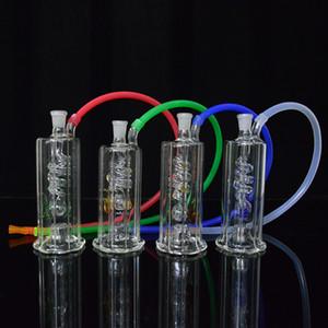 LED Dab Rig Bongo de Vidro de 4.5 polegada de Altura Portátil Oil Rigs Tubulação de Água Inline Bobina Perc Hookah Cachimbos de 10mm Comum Pote Livre Tigela + Mangueira