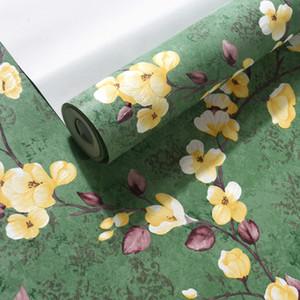 American Rustic Vine Flower Green Solid Color Countryside Papeles de pared Decoración del hogar Dormitorio Sala de estar papel mural carta da parati