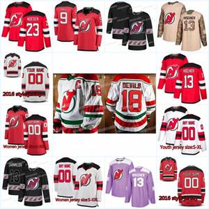New Season نيوجيرزي ديفيلز جيرزي 19 Travis Zajac 52 Baddock 63 Jesper Bratt 9 Taylor Hall 56 Blake Pietila 43 Brett Seney Hockey Jerseys