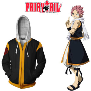 Asian Size Japan Anime FAIRY TAIL Natsu Halloween Cosplay Costume nero Zipper Baseball Coat Jacket Hoodie