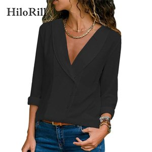 HiloRill Blusa Mujeres 2018 Otoño Manga Larga Cuello En V Camisas Sexy Sólido Elegante Oficina Señora Blusas Tops Blusas Chemise Femme