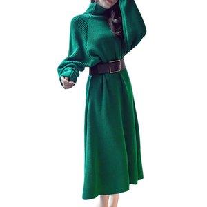 SHENGPALAE 2018 Nuevo Otoño Invierno Vestido KnitingTurtleneck Manga Larga Negro Verde Con Cinturón Moda Vintage Marea Mujeres FF514