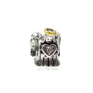 Prey Angel con cuore di fascino di cristallo perlina grande foro moda donna gioielli stile europeo per la collana di bracciale pandora