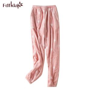 Fdfklak Thick flannel winter pajamas pant women & men sleepwear pants print coral fleece trousers warm home pant pyjamas pants
