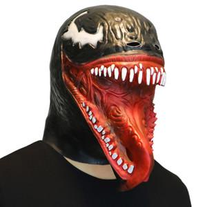 MostaShow Negro Máscara de la cabeza del látex del veneno Sombrero lleno Halloween Fiesta de baile de disfraces de la mascarada Máscaras Juguete difícil