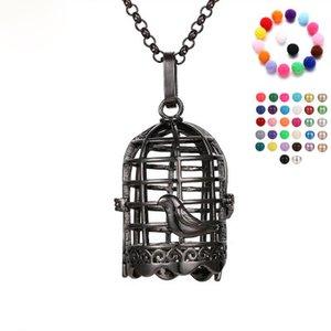 Disffuser Halskette schwarz Vogelkäfig Kegel Perle Zubehör Medaillon ätherisches Öl Diffusor Halsketten aushöhlen Medaillon Cage Anhänger Halskette