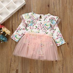 Vieeoease Girls Floral Tulle Romper INS Baby Clothing 2018 Primavera Cute Fly Sleeve Monos Romper HX-908