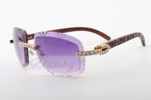 19 Factory Outlet best-seller cortar óculos de sol naturais de madeira entalhada templo, 8300075-A, luxo óculos de sol de diamante Tamanho: 58-18-135 Sunglasses