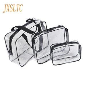 JXSLTC Fashion Transparent Travel cosmetic Organizer Cases bag letter make-up tasjes cute cosmetic bag women  Handbags