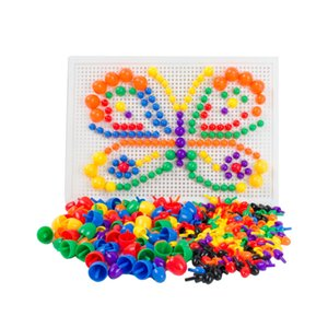 Mushroom Nails Peg Board Nursery School Puzzles Toys ، مع تعليمات الأفكار ، 7 ألوان ، أكثر من 200pcs