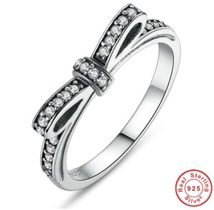 925 Sterling Silver Sparkling Bow Knot Stackable Anneau Micro Pave CZ pour les femmes Valentine 's Day Jewelry
