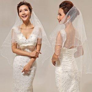 150 centimetri 2018 all'ingrosso semplice Tulle perla veli da sposa due strati Bridal Veil Accessori bianco / avorio Wedding ACCESSORI