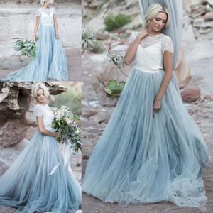 Dusty Blue Beach boho del vestido de boda del cordón blanco escarpado Chaqueta desmontable Crop Top de manga corta de tul una línea de dos entonó el vestido de novia de color