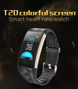 T20 Couleur SmartBand fréquence cardiaque tension artérielle Oxygène sanguin poignet intelligent Bracelet de remise en forme Bracelet Bracelet Sports Tracker Podomètre