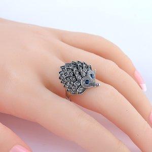 Anel Do Punk do vintage Único Esculpida Antique Silver Hedgehog Sorte Anéis para As Mulheres Boho Praia Festa De Casamento Europeia Aniversário Presente Da Jóia