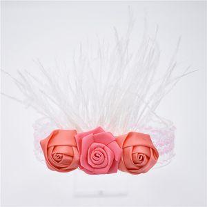 16pcs tüy saç bandı çiçekler saç bandı tüy cabelo Meninas rustico pequena flor frisado faixas cabelo faixa HD089 gül