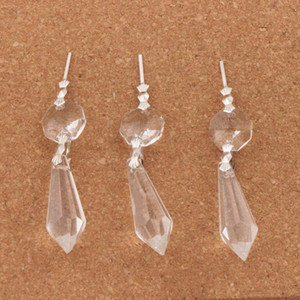 30 pçs / lote Grande Lustre De Cristal De Vidro Lustres de Lâmpadas Prismas Partes Pendurado Gotas Pingentes Descobertas Jóias Componentes