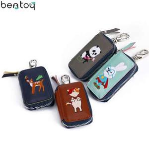 Bentoy Cartoon Stickerei Schlüsselmappe Für Frauen Leder Reißverschluss Autoschlüssel Halter Niedlichen Tier Geldbörse Keychain Organizer Brieftasche