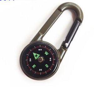Doppelseitige 3 in 1 Mini Kompass Karabiner Thermometer Militär Nützlich Outdoor Klettern Wandern Karabiner Schlüsselanhänger Kompass Thermometer Kleiderbügel