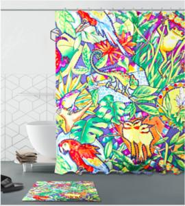 Handgemachte Landschaft Design Pattern Irish Dekorationen Wasserdichtes Badezimmer Dekor Stoff Duschvorhänge Fußmatten Sets