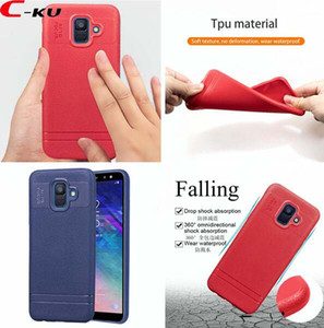 For Samsung Galaxy A6 PLUS 2018 J4 J6 Xiaomi Redmi 6 6A Huawei Honor 7C AUTO FOCUS Soft TPU Case Litchi Cell phone Skin Cover Luxury 20pcs