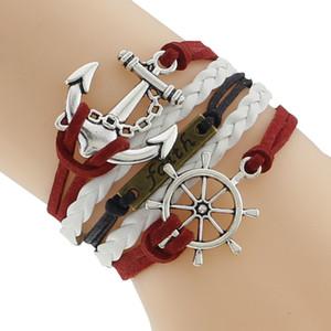 2018 Leder Charm Bracelet Braid Multilayer Unendlichkeit Anchor Rudder Armband Für Frauen Männer Schmuck Armbänder Armreif