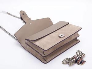 новый натуральная кожа женщины сумка высокого качества замша женская сумка леди цепи сумка 400249