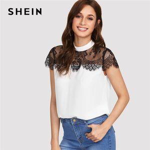 SHEIN Lace Yoke Keyhole Volver Top Mujeres Patchwork Stand Collar Botón de manga corta Blusa informal 2018 Verano elegante blusa