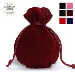 100 قطع الأزياء 7 * 9 سنتيمتر المخملية حقيبة الرباط الحقيبة الأسود الأحمر كالاباش مجوهرات التعبئة حقائب الزفاف هدية عيد حقيبة F3991 الملحقات