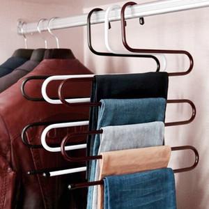 S-type Многофункциональная вешалка для брюк 5 слоев Подвесная вешалка для одежды Из нержавеющей стали Подвесная стойка Многослойный шкаф для хранения вещей