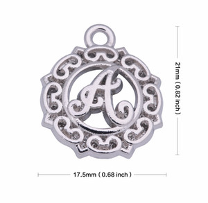 Rhodium Plated Lowercase English Letter a b c d f g Charms Fit Floating Bracelet Mixed Available Bulk Lots