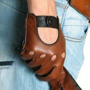 Натуральная кожа Мужские перчатки Мода Повседневная дышащая овчины перчатки Пять пальцев Мужской вождения кожаные перчатки проложенная M023W