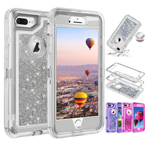 Treibsand Roboter Hüllen Kristall Flüssiges Glitter-Hüllen-Abdeckung für Iphone 11 Pro XS MAX XR X 8 Plus Samsung Anmerkung 10 Ohne Clip
