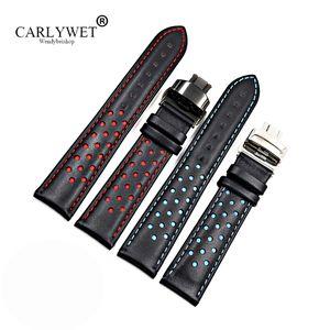 CARLYWET 20 22 мм воловья кожа ручной работы черный красный синий замена наручные часы ремешок двойной Push застежка для Tag CARRERA