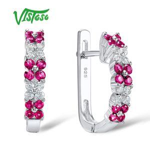 Orecchini VISTOSO Orecchini a forma di fiore rosa Rubino rotondo bianco con zirconi cubici Orecchini a bottone di alta qualità