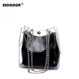 EXCELSIOR Hot Sale High Quality PVC Women's Handbag New Fashionable Composite Bag with Chain Strap PU Leather Inner Bags G2117