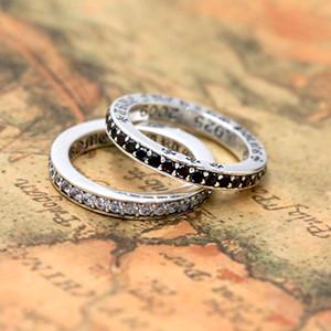 925 jóias de prata antigo americanos estilo europeu de designer anéis de cluster feitos à mão 2 cores CZ para as mulheres