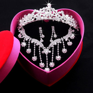 2018 Bridal Jewelry Bride Crystal Crown Necklace Earring Wedding Accessory Party Prom Jewelrys Hgyuhg Free Shipping In Stock Cheap