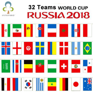 2018 Russland Welt Fußball Cup 32 Country String flagge 14x21 cm Land Banner Bar Home Fußball Fußball Fan Party Dekoration GYH
