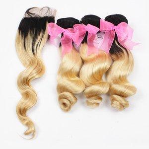 Ombre Свободные волны Блондинка Связки волос с кружевом Закрытие 1B 613 Ombre индийских человеческих волос Weave расширений с закрытием 4шт Лота