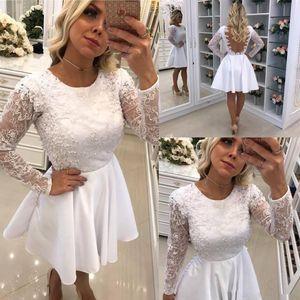 Vestidos de coctel blancos cortos cortos 2019 Nueva Perla de joya de encargo Perlas moldeadas De manga larga sin respaldo Vestidos de baile Vestidos de Fiesta C65