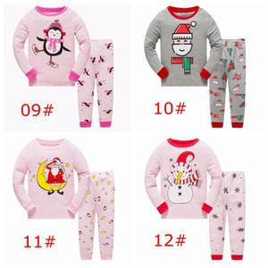 Noël noël enfants Pyjamas ensemble 2pc bonhomme de neige elk santa elfe impression complète bébé rose dessus 100% coton pp pantalon 2-7ans plus de 12 styles choisir