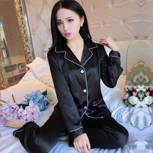 Pijama Akşam Aşınma Sexy Lingerie Kadın İç Çamaşırı Ipek Saten Uzun Kollu Femme Nakış V Yaka Pijama Artı Boyutu Gecelikler