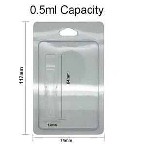 Оптовая продажа пластиковых Clam Shell Розничная раскладушка Vape Cartridge Blister Упаковка с подвесным отверстием для 510 ниток 0,5 мл 1,0 мл Vape упаковка