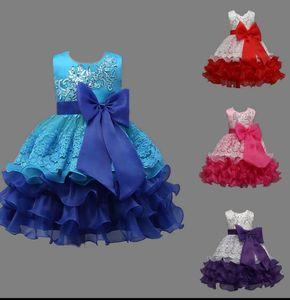 Per bambini Baby Flower Bow Princess Dress Party Wedding abito da damigella d'onore bowknot tutu vestito dal vestito paillettes fiore ricamo KKA4039