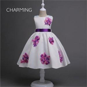 vestito da promenade del ginocchio del raso ragazza corta ragazza dres s elegantdresses 3d floreale nozze dres s designer abiti abito floreale