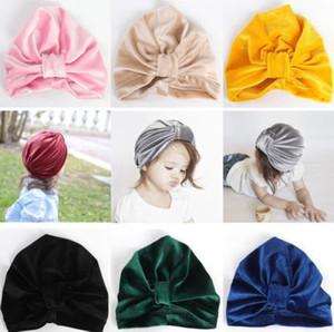 Moda Çocuk türban şapka ön düğümlü kadife şapka sevimli çocuk sıcak kış baş şal kap kız erkek parti fantezi elbise şapka beb ...