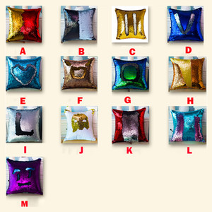 Sequin Pillow Case Reversible Sequin Mermaid Glitter Sofa Cushion Cover Pillow Case Double Color Pillowslip Case cover 40*40cm