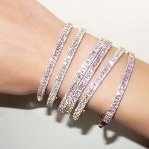 braccialetto di lusso del braccialetto del polsino della cz per le donne regalo della signora tre linea lab diamante di lusso regalo di cerimonia nuziale di lusso del polsino dei braccialetti del polsino